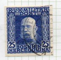 37CRT902 - BOSNIA ERZEGOVINA 1912 , 25 H. Usato IMPERFORATED NON DENTELLATO (CRT) - Bosnië En Herzegovina