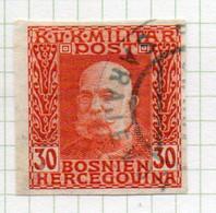 37CRT903 - BOSNIA ERZEGOVINA 1912 , 30 H. Usato IMPERFORATED NON DENTELLATO (CRT) - Bosnië En Herzegovina