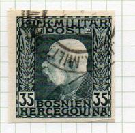37CRT904 - BOSNIA ERZEGOVINA 1912 , 35 H. Usato IMPERFORATED NON DENTELLATO (CRT) - Bosnië En Herzegovina