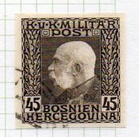 37CRT906 - BOSNIA ERZEGOVINA 1912 , 45 H. Usato IMPERFORATED NON DENTELLATO (CRT) - Bosnië En Herzegovina