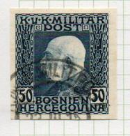 37CRT907 - BOSNIA ERZEGOVINA 1912 , 50 H. Usato IMPERFORATED NON DENTELLATO (CRT) - Bosnië En Herzegovina