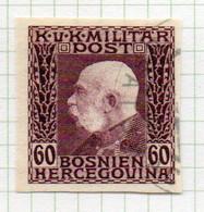 37CRT908 - BOSNIA ERZEGOVINA 1912 , 60 H. Usato IMPERFORATED NON DENTELLATO (CRT) - Bosnië En Herzegovina