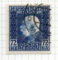 37CRT909 - BOSNIA ERZEGOVINA 1912 , 72 H. Usato IMPERFORATED NON DENTELLATO (CRT) - Bosnië En Herzegovina