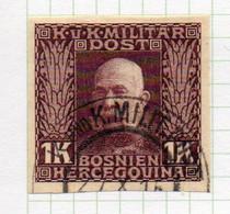 37CRT910 - BOSNIA ERZEGOVINA 1912 , 1 Kr Usato IMPERFORATED NON DENTELLATO (CRT) - Bosnië En Herzegovina
