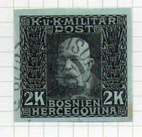 37CRT911 - BOSNIA ERZEGOVINA 1912 , 2 Kr Usato IMPERFORATED NON DENTELLATO (CRT) - Bosnië En Herzegovina
