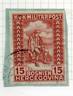37CRT913 - BOSNIA ERZEGOVINA 1916 , 15+2 H. Usato IMPERFORATED NON DENTELLATO (CRT) Mutilati - Bosnië En Herzegovina