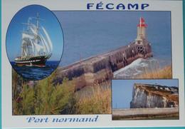 76 Seine Maritime  CPM Fécamp Port Normand Multivues Le Belem La Jetée Le Phare  Cap Fagnet - Fécamp