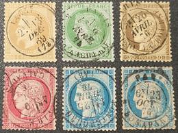Napoléon III Lauré/Cérès N° 28A/53/56/57/60Cx2 Avec Oblitération Cachet à Date Centrale  TB - 1871-1875 Ceres