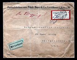 14.10.1923 - Lokalausgabe Leverkusen (15.800.000 Mark) Auf FLUGPOSTBRIEF Ab Leverkusen Nach USA - Covers & Documents
