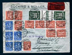 100 Mk. Flugpost Senkrechtes Zwischenstegpaar (237SZ) Auf Eilbotenbrief 1923 Ab Bremen Nach Kamenz - RRR - Covers & Documents