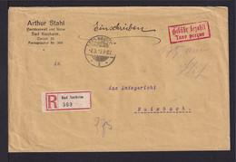 """7.9.1923 - """"Gebühr Bezahlt/Taxe Percue""""-Stempel Auf Einschreibbrief Ab Bad Nauheim Nach Butzbach - Storia Postale"""