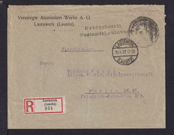 """30.8.1923 - """"Gebührbezahl/PostamttLautawerk""""-Stempel Und Siegelstempel Auf R-Brief Ab Lautawerk Nach Berlin - Covers & Documents"""