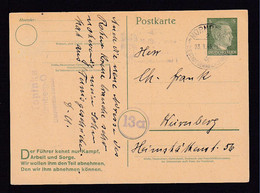 1945 - 5 Pf. Ganzsache (P 313IIb) Gebraucht In Nürnberg - SELTEN - Covers & Documents