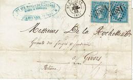 22 X 2 Empire Franc 20 C. Bleu Lettre De Saint Etienne 3581 Du 23-07-1863 - 1862 Napoleone III