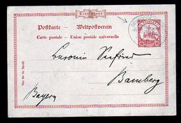 1910 - 10 Pf. Ganzsache Mit Seepost-Aufgabestempel Hamburg-Westafrika - Nach Bamberg - Colonie: Togo