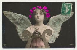 Carte Fantaisie - Ange Enfant - Harpe Musique - Angeles