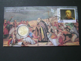 GREECE 2 EURO 1821-2021 200 YEARS FROM GREEK FDC.. - FDC