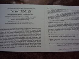 Doodsprentje/Bidprentje  Ernest SOENS  (Wedr R.VINDEVOGHEL) Aspelare 1914-2003 St-L-Houtem    Ereschepen Aspelare - Religione & Esoterismo