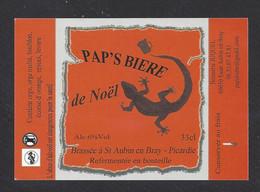 Etiquette De Bière De Noël -  Pap's Bière  -  Brasserie Juquel  à Saint Aubin En Bray (60) - Beer