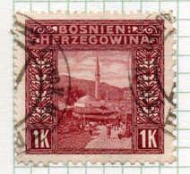 37CRT918 - BOSNIA ERZEGOVINA 1906 , 1 Kr N. 42 : Dent 12 1/2,9 1/2,10 1/2,12 3/4 (CRT) - Bosnië En Herzegovina