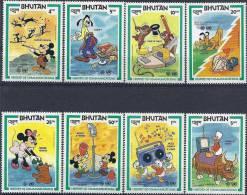 1984 BHOUTAN 608-16** Communications, Disney, Mickey, Donald - Bhutan