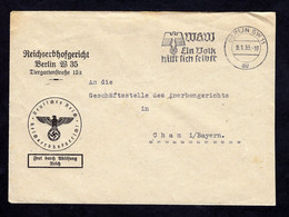 DR Brief Freistempel BERLIN SW 11 - Cham - 9.1.39  WHW Ein Volk Hilft Sich Selbst - Covers & Documents