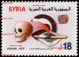SYRIE SYRIA SYRIAN ARAB REPUBLIC 2001 WORLD NO TOBACCO DAY ANTI SMOKING WORLD HEALTH DAY SMOKE SKULL CIGARETTES MEDICINE - Syrien