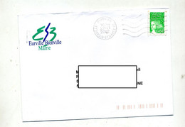 Lettre Flamme Muette Eurville Bienville Entete Mairie Curiosite Centre Inversé - Mechanical Postmarks (Advertisement)