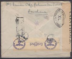 Espagne :Enveloppe Avec Affrt 75c Ano Santo 1943 Oblt CàD Flamme De BARCELONA  +Triple Censure, Espagne, France Et Allem - 1931-50 Brieven