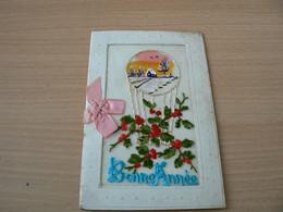 CARTE POSTALE BRODEE BONNE ANNEE ECRITE EN 1925 - Neujahr