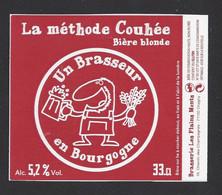 étiquettes De Bière Blonde -  La  Méthode Couhée -  Brasserie Les Plains Monts à Chagny  (71) - Beer
