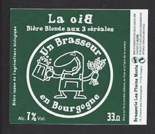 étiquettes De Bière Blonde Aux 3 Céréales -  La  Oib  -  Brasserie Les Plains Monts à Chagny  (71) - Beer