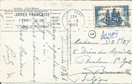 FRANCE - 30 FR. FRANKING (YV. #1035 ALONE) ON PC (VIEW OF LYON) TO BELGIUM - 1955 - 1921-1960: Modern Period