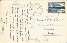 FRANCE - 30 FR. FRANKING (YV. #986 ALONE) ON PC (VIEW OF CARTERET) TO BELGIUM - 1954 - 1921-1960: Modern Period