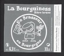 étiquettes De Bière Brune -  La Bourguiness  - Brasserie Les Plains Monts à Chassey Le Camp  (71) - Beer