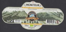 étiquettes De Bière Ambrée Bio  -  Moniteur    -  Brasserie Des Sources Vanoisen à Villarondin Bourget  (73) - Bière