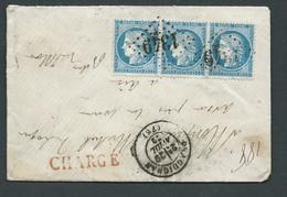 LSC Chargée De Draguignan ( Gc1349)   Affranchie Par Yvert 60 A X 3   , 29/01/1872    AC 12804 - 1871-1875 Ceres