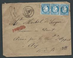 LSC Chargée De Montpelliere  ( Gc 2502)   Yvert N°  60A X 3 ( Bande De 3 )   - 26 /12/1872 )  AC 12808 - 1871-1875 Ceres