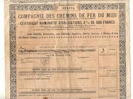 Certificat Nominatif D'obligations 3% De 500 Francs Compagnie Des Chemins De Fer Du Midi à Paris En 1924 - Format :43x26 - Ferrovie & Tranvie