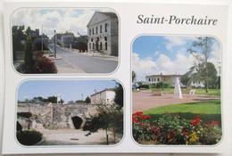 CPSM NON VOYAGEE 177036 SAINT PORCHAIRE RUE CENTRALE MAIRIE EGLISE PONT NAPOLEON STATUE PIERRE LOTI - Other Municipalities