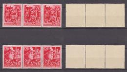 """Deutsches Reich 1945 """"SA Und SS"""", Mi.Nr. 909 + 910 In Waagerechten Dreierstreifen Postfrisch/MNH Siehe Fotos. (Satz 6) - Nuevos"""