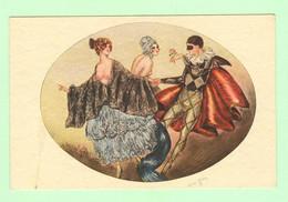 K1069 - Illustration JEAN GILLES - Femme, Frau, Lady, Seins Nus - Arlequin - Costume - Erotica - Erotisme - Other Illustrators