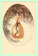 K1071 - Illustration Signée HARDY - Femme, Frau, Lady Avec Chapeau Et Jolie Robe - Hardy, Florence