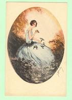 K1072 - Illustration Signée HARDY - Femme, Frau, Lady Avec Oiseaux Et Jolie Robe - Hardy, Florence