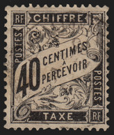 Timbres-Taxe N°19, Type Duval, 40c Noir, Oblitéré - TB - 1859-1955 Gebraucht