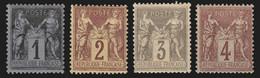 France 1877 Lot De 4 Timbres Neufs ** Sans Charnière COTE 78€ - TB 1er Choix - 1876-1898 Sage (Tipo II)