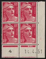 France N°887 Bloc De 4 Coin Daté 1951, Neufs ** Sans Charnière COTE 100€ - TB - 1950-1959