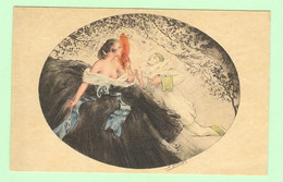 K1074 - Illustration Signée SOLANGES - Femme, Frau, Lady Avec Pierrot - Other Illustrators