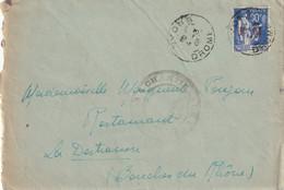 90 C Paix Surchargé FM. Lettre Avec Courrier. Chantier De Jeunesse N°33 Nyons (Drome) Pour La Destrousse (13) - WW II