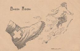 Carte Postale Suisse. Contre Le Bolchevisme. Humoristique. Bonne Année - WW II